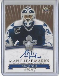 2017 Toronto Maple Leafs Centennial Grant Fuhr Maple Leaf Marks Rare Autographed