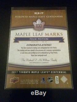 2017 UD Toronto Maple Leafs Centennial Felix Potvin Marks auto MLM-FP