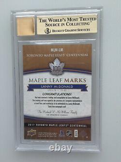 2017 UD Toronto Maple Leafs Centennial Marks B Auto Lanny McDonald BGS 9.5