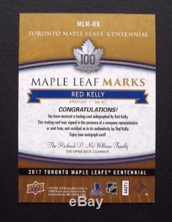 2017 Ud Toronto Maple Leafs Centennial Red Kelly Marks Auto Group A Sssp 11513
