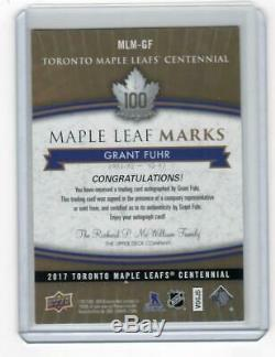 2017 Upper Deck Toronto Maple Leafs Centennial Grant Fuhr Marks Auto Group A Sa