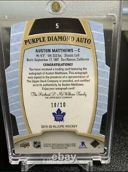 2019-20 UD Allure Die-Cut Purple Diamond Auto Auston Matthews /10