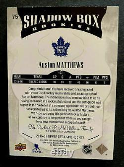 AUSTON MATTHEWS 2016-17 SPX UD 87/99 SHADOW BOX JERSEY AUTO RC ROOKIE young gun
