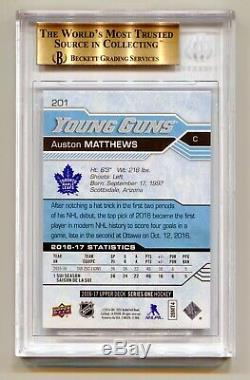 Auston Matthews 2016-17 Upper Deck Young Guns Rookie Rc Bgs 10 Beckett Pristine