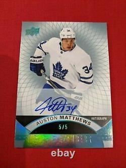 Auston Matthews 2017-18 UD Premier Auto 5/5 #6 Toronto Maple Leafs