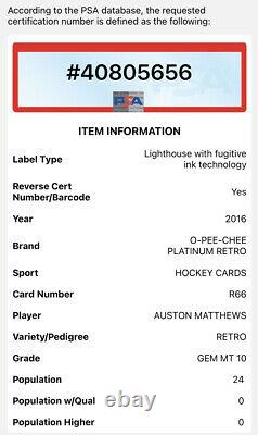 Auston Matthews Psa 10 2016 O-pee-chee Platinum Retro Rookie Rc Pop 24