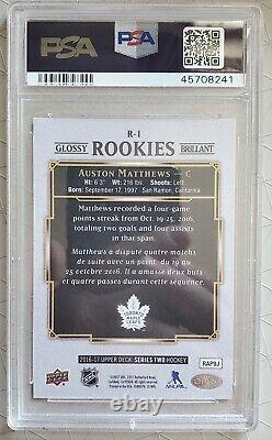 Auston Matthews RC Rookie 2016 UD OPC U. GLOSSY ROOKIES GEM MINT PSA 10 Pop52