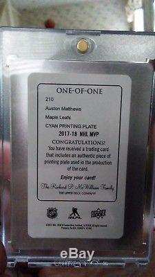 Auston Matthews TRUE 1/1 17-18 UD MVP Printing Plate Cyan Toronto Maple Leafs