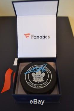 Auston Matthews Toronto Maple Leafs Signed Game Model Hockey Puck FANATICS