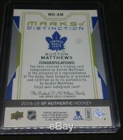 Auston matthews 2018-19 SP Authentics Marks of Distinction Auto #06/25 Leafs