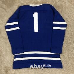 CCM Johnny Bower Toronto Maple Leafs NHL Hockey Jersey Wool Sweater Blue M