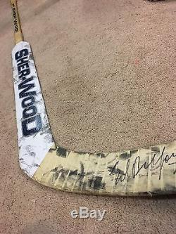 ED BELFOUR 03'04 Signed Toronto Maple Leafs Goalie Game Used Hockey Stick COA