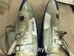ED BELFOUR 05'06 Toronto Maple Leafs NHL Game Worn Used Goalie Leg Pads COA