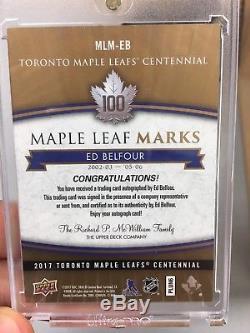 Ed Belfour 2017-18 UD Toronto Maple Leafs NHL Centennial Marks Auto MLM-EB