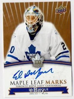 Ed Belfour Maple Leaf Marks 11,513 Group A autograph 2017-18 Centennial Toronto