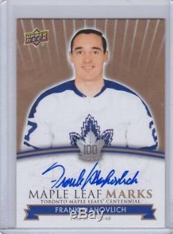 Frank Mahovlich 2017 UD Toronto Centennial Maple Leaf Marks Auto MLM-FM