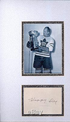 Hap Day Toronto Maple Leafs Autograph Signed & Matted Stanley Cup Photo Psa Dna