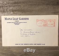 JACQUES PLANTE Autographed Photo & Fibrosport Business Card with Original Envelope