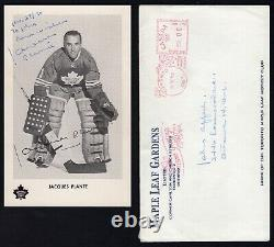 JACQUES PLANTE SIGNED 1970's TORONTO MAPLE LEAFS POST CARD WITH ORIGINAL MAILER
