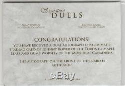 Johnny Bower Maple Leafs & Gump Worsley Canadiens Custom Cut Autograph Card 1/1
