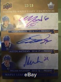 Matthews / Marner / Nylander 2017 Toronto Maple Leafs' Centennial Auto #12/15