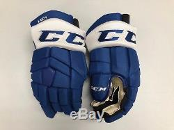 New! CCM Tacks Toronto Maple Leafs NHL Pro Stock Return Hockey Player Gloves 14