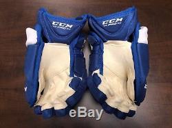 New! CCM Toronto Maple Leafs NHL Pro Stock Return Hockey Player Gloves 13 11k