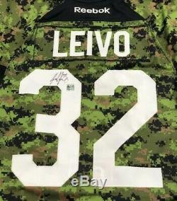 Pro Stock Warm-Up Used Toronto Maple Leafs Leivo Armed Forces Night Auto WithCOA