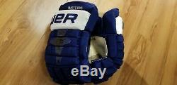 RARE #34 Auston Matthews 14 Bauer Nexus 1N GAME WORN Hockey Gloves