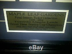 Rare! Toronto Maple Leafs Framed Final Season Tickets Maple Leaf Gardens 1998/99