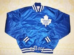 Rare Vtg Adult L Starter NHL 80s Toronto Maple Leafs Blue Satin Jacket Button Up