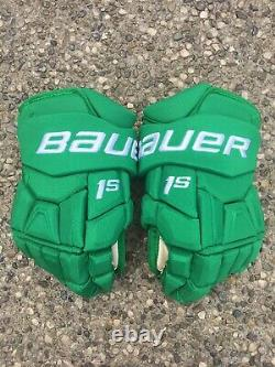TORONTO ST PATS MAPLE LEAFS Bauer 1S Pro Stock Hockey Gloves Green Size 14