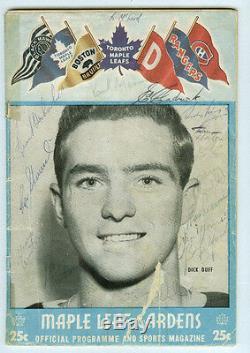 Tim Horton George Armstrong Team Signed 1957-58 Toronto Maple Leafs Program Auto