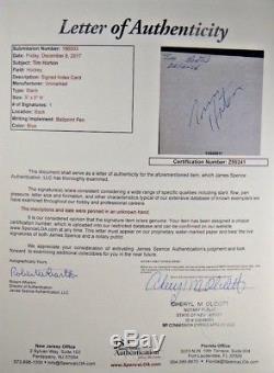 Tim Horton Hockey HOF Signed 3x5 Toronto Maple Leafs NY Rangers Full JSA Letter