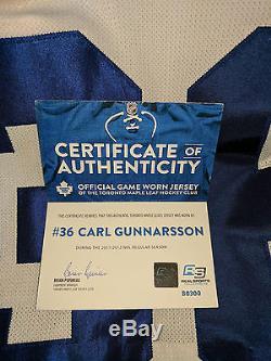 Toronto Maple Leafs Carl Gunnarsson Reebok Edge Authentic Game Worn Jersey COA