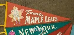 Vintage 1950's Complete set VERY RARE ORIGINAL 6 Pennant NHL Hockey