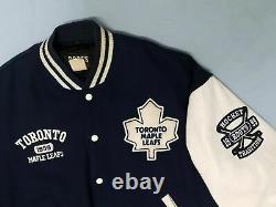 Vtg 1999 Roots Canada Varsity Jacket Toronto Maple Leafs Hockey Leather Wool L